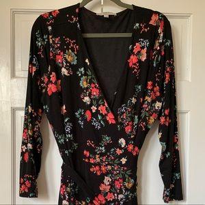 LOFT Plus Black Floral Wrap Dress Size 18